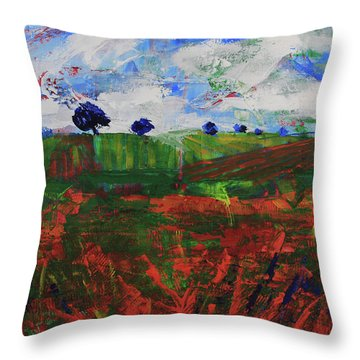Throw Pillow featuring the painting Distant Vineyards by Walter Fahmy
