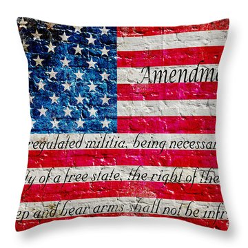 Distressed American Flag And Second Amendment On White Bricks Wall Throw Pillow