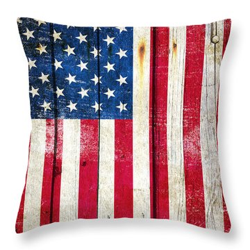 Distressed American Flag On Wood - Vertical Throw Pillow