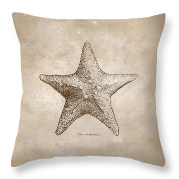 Distressed Antique Nautical Starfish Throw Pillow