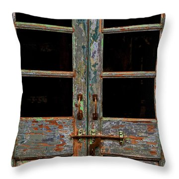 Distressed Doors Throw Pillow