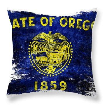 Distressed Oregon Flag Throw Pillow