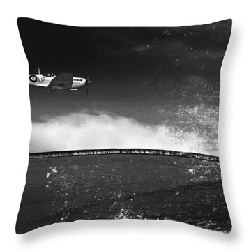 Distressed Spitfire Throw Pillow by Meirion Matthias