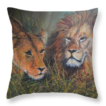 Throw Pillow featuring the painting Disturbed Siesta by Beatrice Cloake