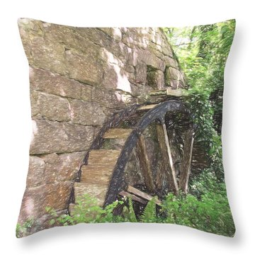 Disused Water Wheel Throw Pillow