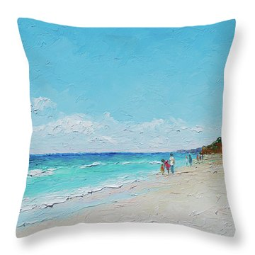 Ditch Plains Beach Montauk Hamptons Ny Throw Pillow