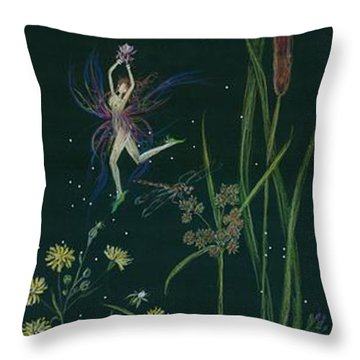 Ditchweed Fairy Cattails Throw Pillow