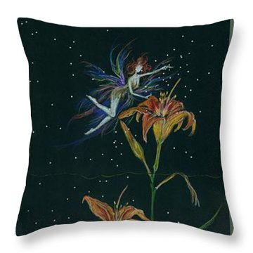Ditchweed Fairy Daylily Throw Pillow by Dawn Fairies
