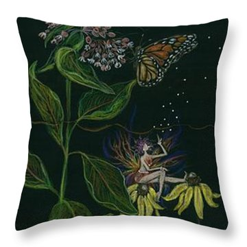 Ditchweed Fairy Milkweed Throw Pillow by Dawn Fairies