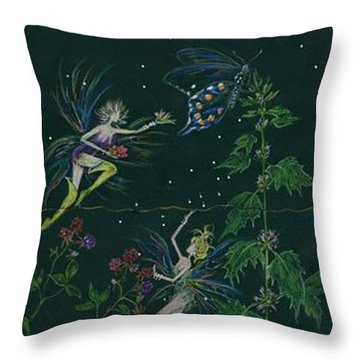 Ditchweed Fairy Raspberry Picking Throw Pillow