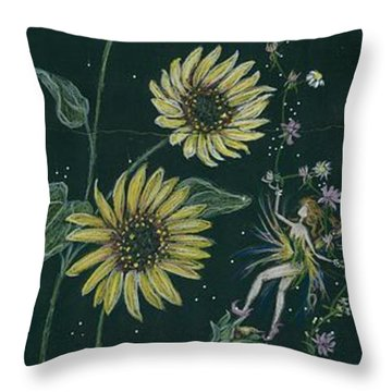 Ditchweed Fairy Sunflowers Throw Pillow by Dawn Fairies