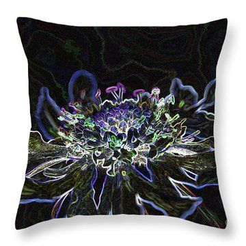 Ditigal Abstract Art Glowing Flower Throw Pillow