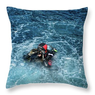 Diver Back To The Surface Throw Pillow by Stephan Grixti