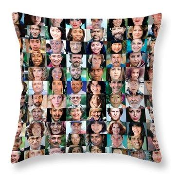 Diversity Faces Mosaic Throw Pillow
