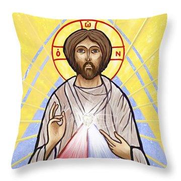 Divine Mercy Icon Style Throw Pillow by Dave Luebbert