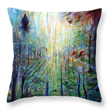 Divine Mother Earth Throw Pillow by Heather Calderon