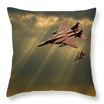 Diving Eagles Throw Pillow