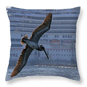 Diving For Breakfast Throw Pillow