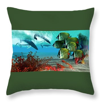 Diving Whales Throw Pillow by Corey Ford