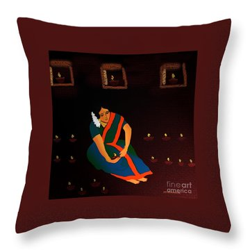 Diwali-the Night Of Diyas Throw Pillow by Latha Gokuldas Panicker