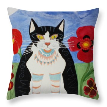 Diwali Tux Cat Throw Pillow