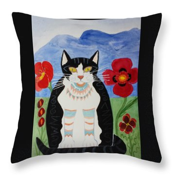 Diwali Tux Cat Throw Pillow