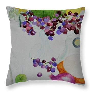 Throw Pillow featuring the painting Django's Grapes by Beverley Harper Tinsley