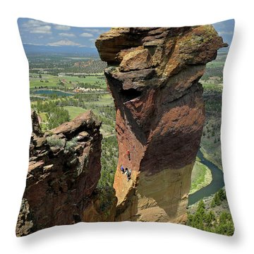 Throw Pillow featuring the photograph Dm5314 Climbers On Monkey Face Rock Or by Ed Cooper Photography