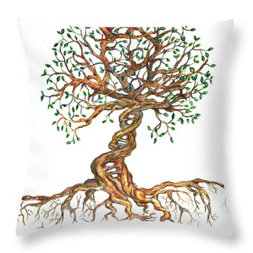 Dna Tree Of Life Throw Pillow
