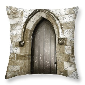 Throw Pillow featuring the photograph Do-00055 Chapels Door In Morpeth Village by Digital Oil