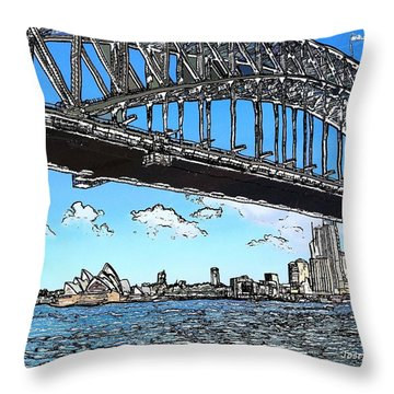 Throw Pillow featuring the photograph Do-00058 Sydney Harbour Bridge And Opera House by Digital Oil