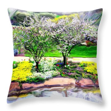 Throw Pillow featuring the photograph Do-00066 Lake Walk by Digital Oil