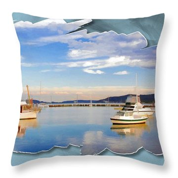 Throw Pillow featuring the photograph Do-00115 Boats In Gosford by Digital Oil