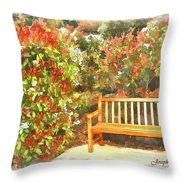Throw Pillow featuring the photograph Do-00122 Inviting Bench by Digital Oil