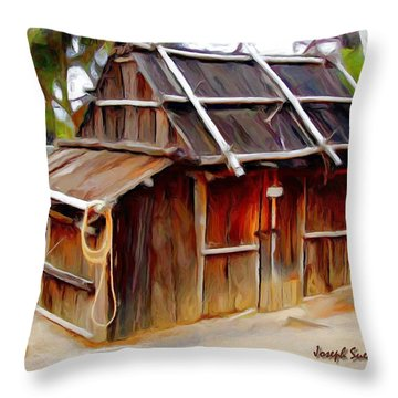 Throw Pillow featuring the photograph Do-00129 Old Cottage by Digital Oil