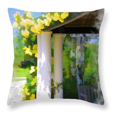 Throw Pillow featuring the photograph Do-00137 Yellow Roses by Digital Oil