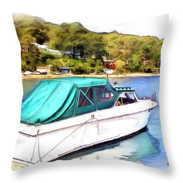 Throw Pillow featuring the photograph Do-00276 Green Boat In Killcare by Digital Oil