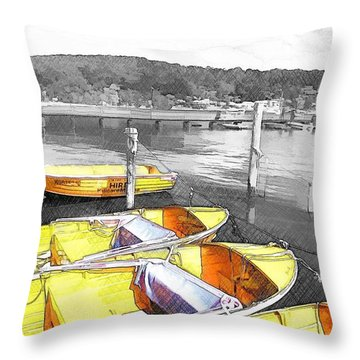 Do-00279 Yellow Boats Throw Pillow