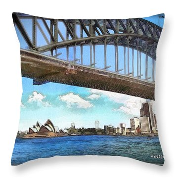 Throw Pillow featuring the photograph Do-00284 Sydney Harbour Bridge And Opera House by Digital Oil