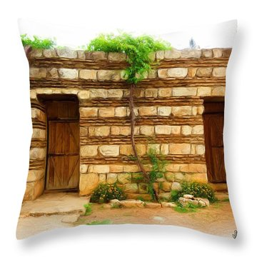 Throw Pillow featuring the photograph Do-00305 Old Hutt In Anjar by Digital Oil