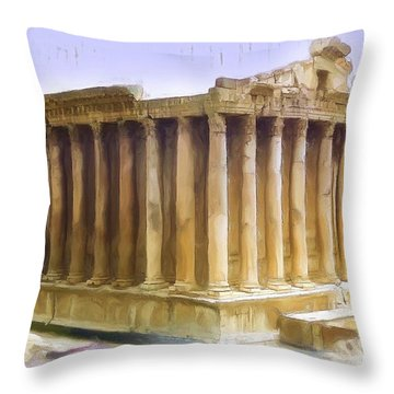 Do-00312 Temple Of Bacchus In Baalbeck Throw Pillow
