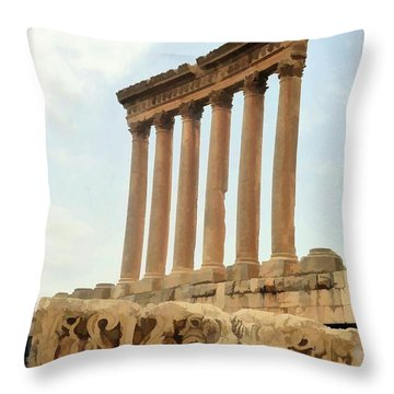 Do-00314 The 6 Corinthian Columns In Baalbeck Throw Pillow
