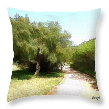 Throw Pillow featuring the photograph Do-00336 -pathway Bois Des Pins by Digital Oil
