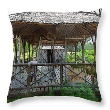 Throw Pillow featuring the photograph Do-00341 Cabin Outdoor Bois Des Pins by Digital Oil