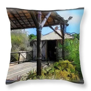 Throw Pillow featuring the photograph Do-00342 Terrace Bois Des Pins by Digital Oil