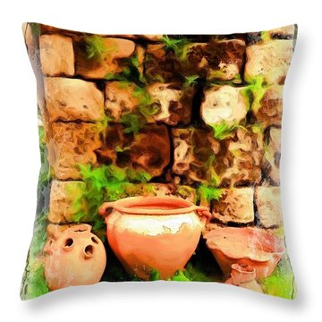 Throw Pillow featuring the photograph Do-00348 Jars In Byblos by Digital Oil