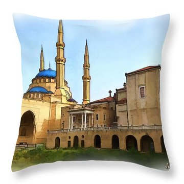 Throw Pillow featuring the photograph Do-00362al Amin Mosque And St George Maronite Cathedral by Digital Oil