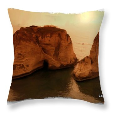 Do-00405 Raouche Sunset Beirut  Throw Pillow