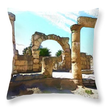 Throw Pillow featuring the photograph Do-00408 Colonnades In Tyr by Digital Oil