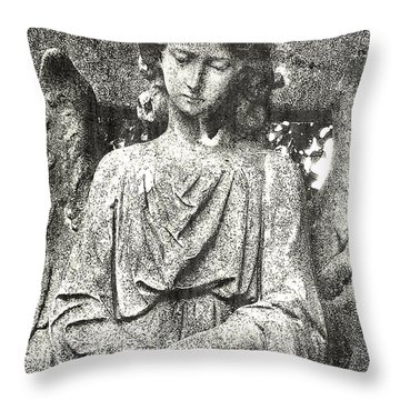 Throw Pillow featuring the mixed media Do Angels Look Sad  by Fine Art By Andrew David